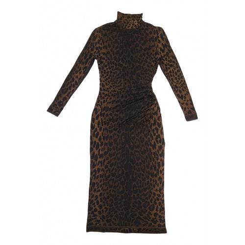 Leonard Brown Silk Dress