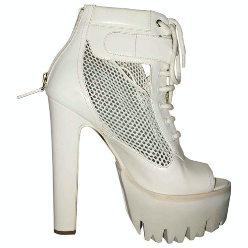 Versace White Patent Leather Ankle Boots
