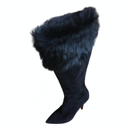 Emanuel Ungaro Black Suede Boots