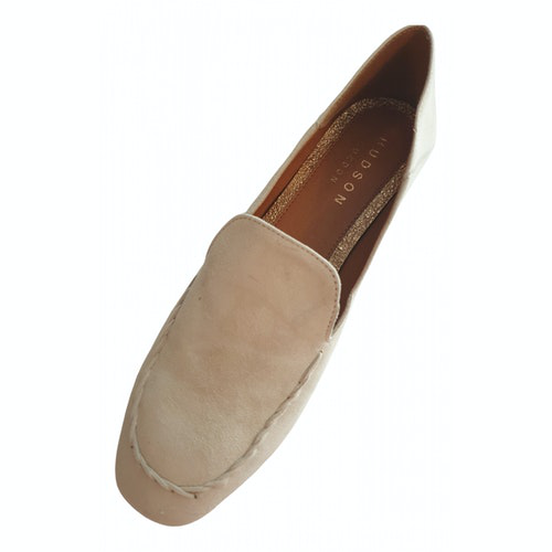 Hudson White Suede Flats