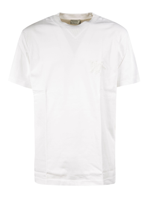 Dior Chest Embrodie3red Logo T-shirt In White