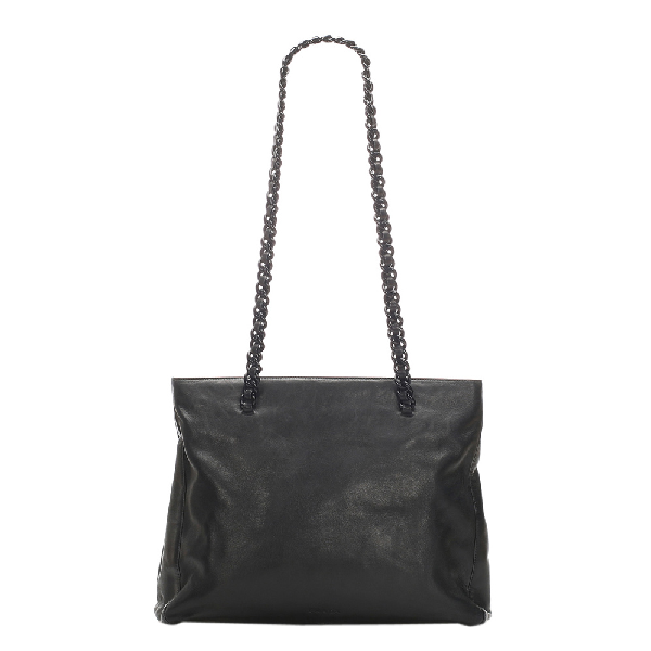 Prada Black Chain Leather Tote Bag