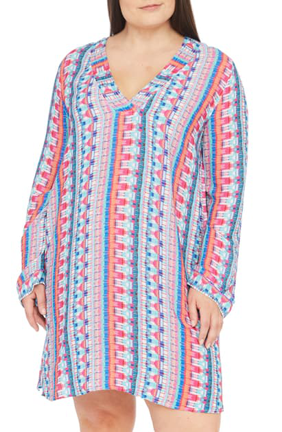 La Blanca Global Jive Long Sleeve Tunic Cover-up In Bird Of Paradise