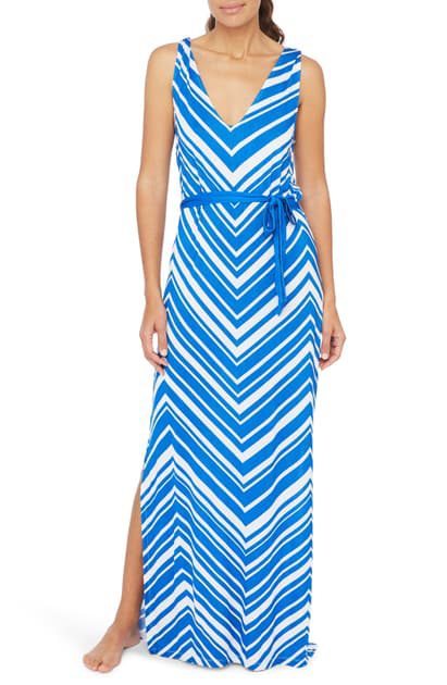 La Blanca Archistripe Cover-up Maxi Dress In China Blue