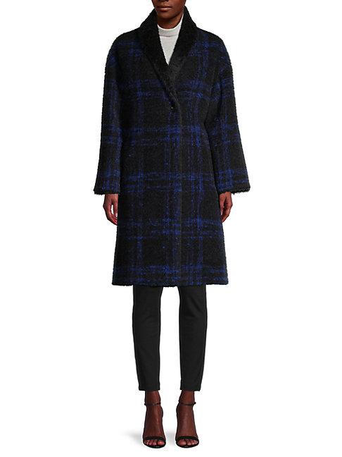 Cinzia Rocca Icons Plaid Virgin Wool & Mohair-blend Coat In Black Blue