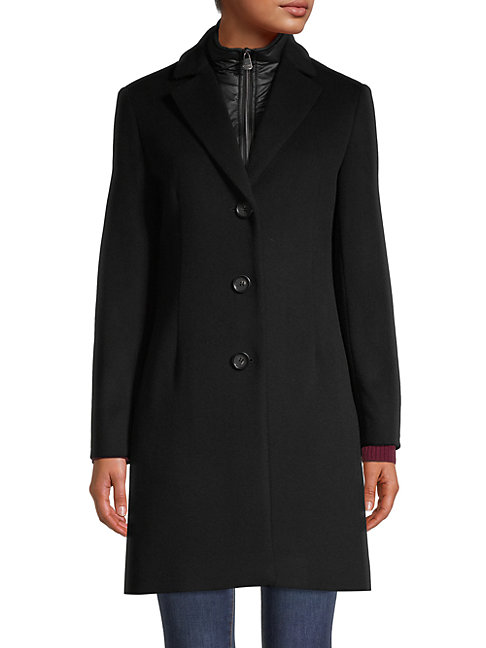 Cinzia Rocca Icons Shawl Collar Wool-blend Coat In Black