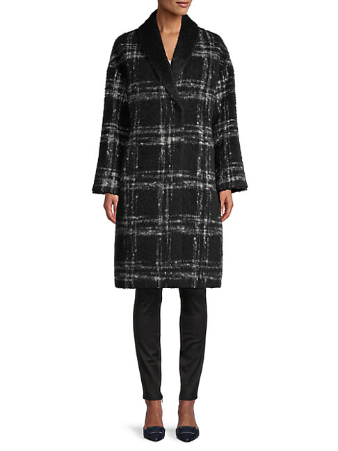 Cinzia Rocca Icons Plaid Virgin Wool & Mohair-blend Coat In Black Grey