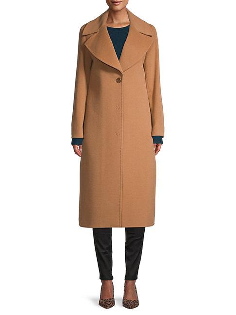 Cinzia Rocca Icons Wool-blend Notch Lapel Coat In Camel