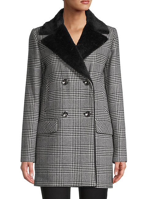 Cinzia Rocca Icons Faux Fur & Wool-blend Houndstooth Jacket In Black White
