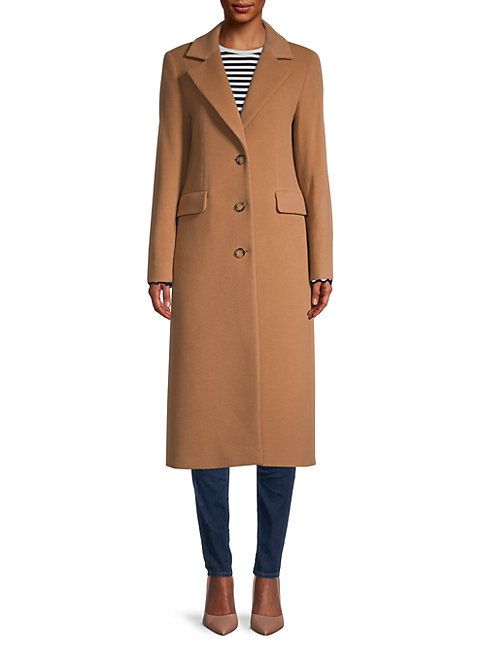 Cinzia Rocca Icons Notch Collar Wool-blend Coat In Camel