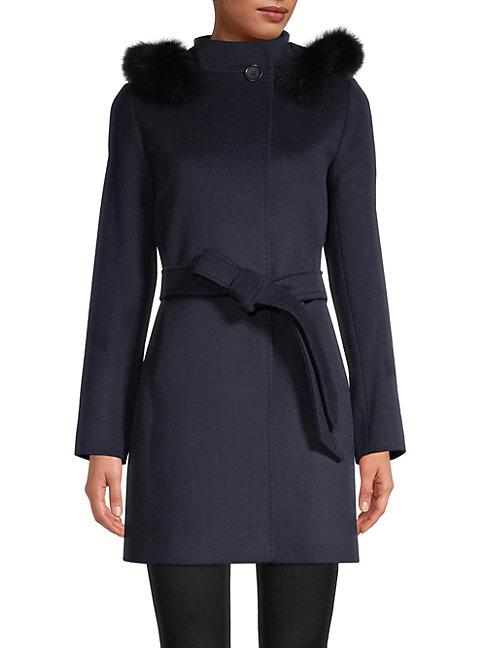 Cinzia Rocca Icons Fox Fur-trim Virgin Wool & Cashmere Coat In Navy