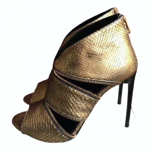 Tom Ford Gold Leather Ankle Boots