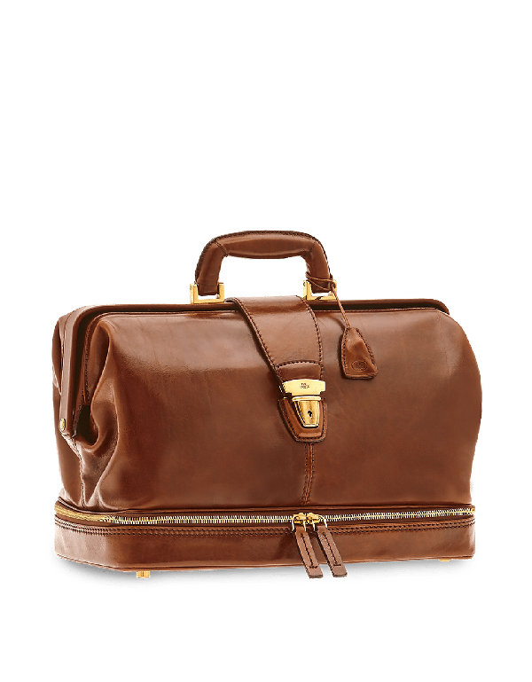 The Bridge Story Uomo Genuine Leather Doctor Bag In Brown