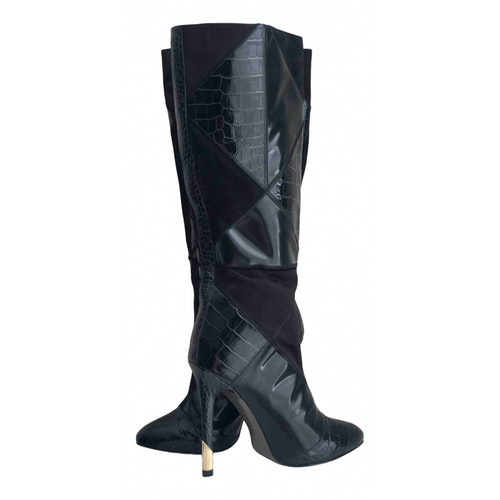 Versace Black Patent Leather Boots
