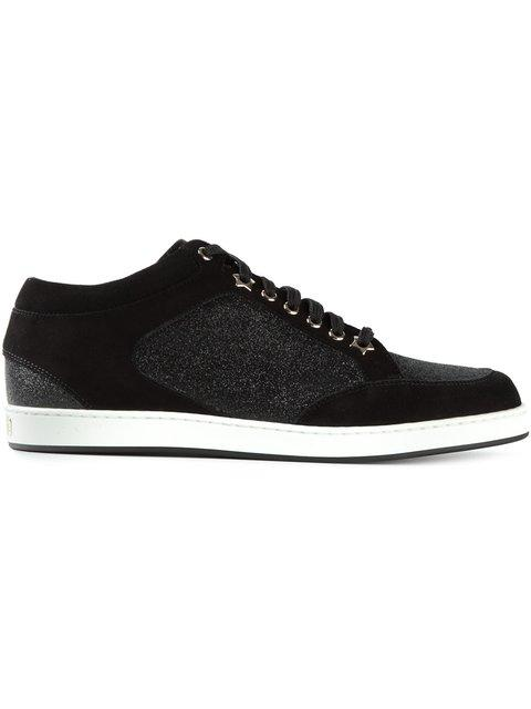 b2a37f8b9cc2 Jimmy Choo Miami Black Fine Glitter And Suede Sneakers