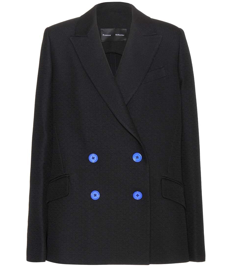 Proenza Schouler Double-breasted Wool-blend Blazer In Llack