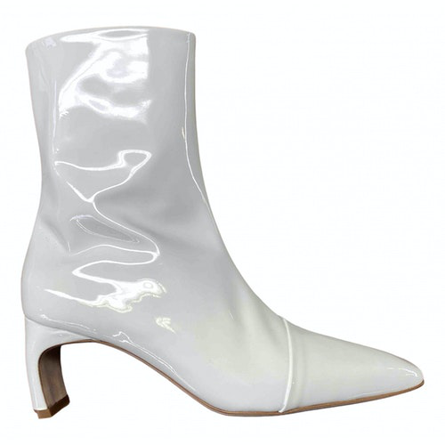 Rosetta Getty White Patent Leather Ankle Boots