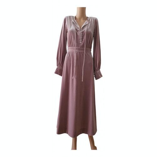 Luisa Beccaria Pink Velvet Dress