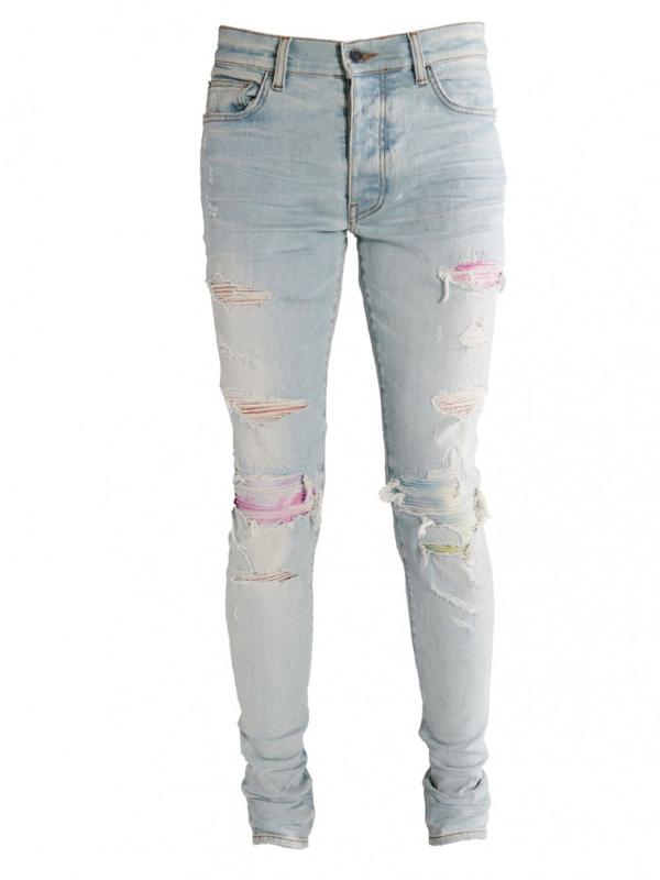 Amiri Light Blue Distressed Watercolor Jeans