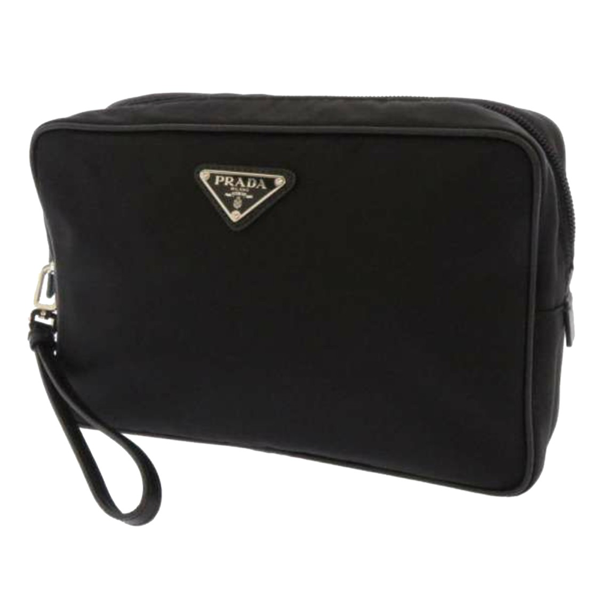 Prada Tessuto Clutch Bag In Black