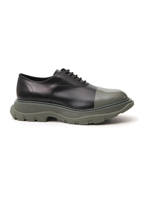 Alexander Mcqueen Black/green Leather Lace-up Shoes