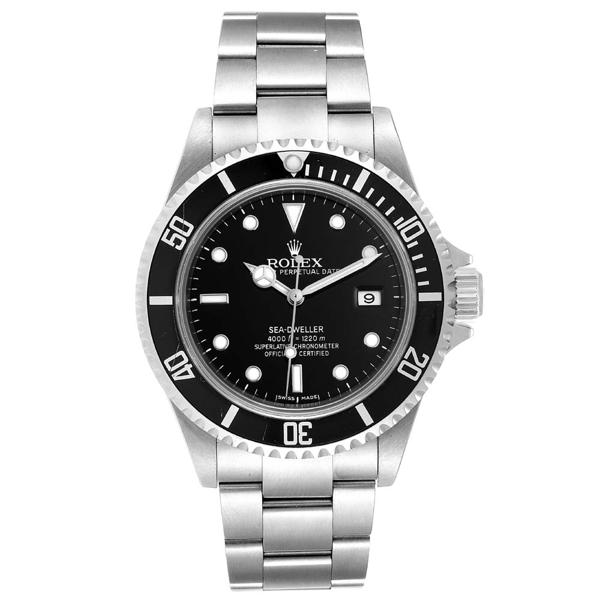 Rolex Black Stainless Steel Seadweller 16600 Men's Wristwatch 40 Mm