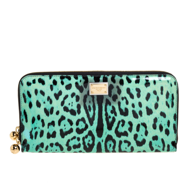 Dolce & Gabbana Green/black Leopard Print Patent Leather Oversized Clutch