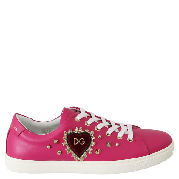 Dolce & Gabbana Pink Leather Gold Heart Shoes Sneakers Size 36