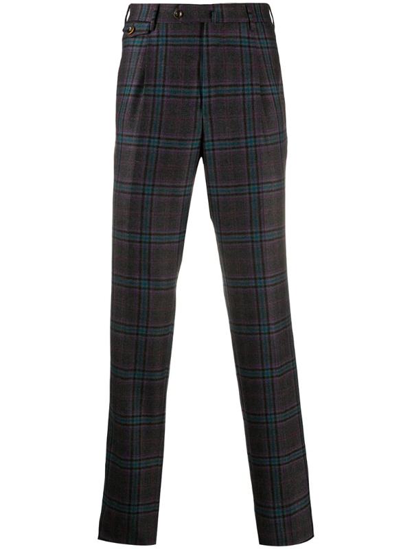 Pt01 Virgin Wool Tartan Trousers In Grey