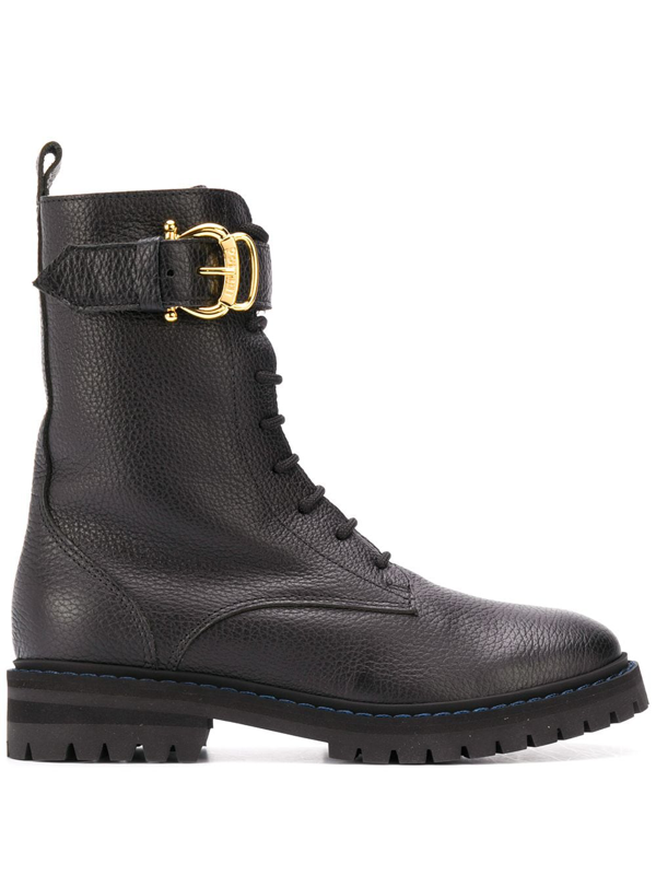Pollini Buckle-detail Combat Boots In Black