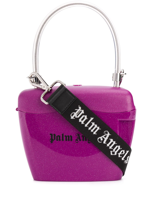 Palm Angels Logo Printed Glitter Top Handle Bag In Pink