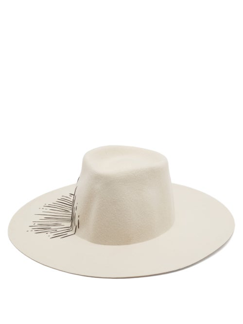 Reinhard Plank Hats Nana Striped Felt Hat In White