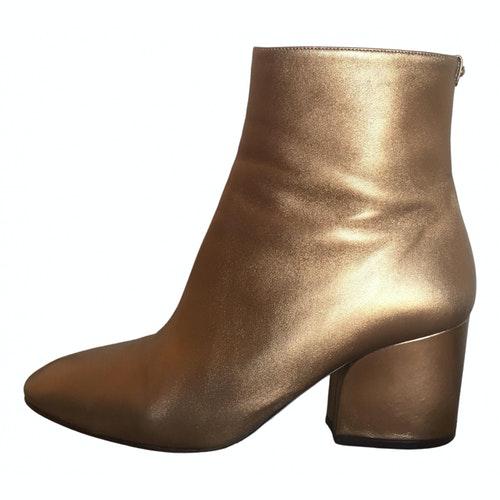 Salvatore Ferragamo Gold Leather Ankle Boots