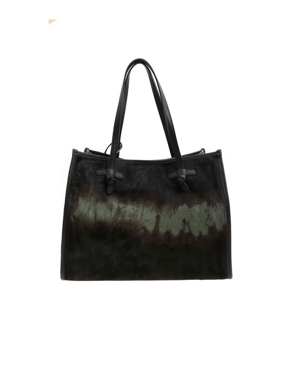 Gianni Chiarini Calf Hair Shopping Bag In Green And Black