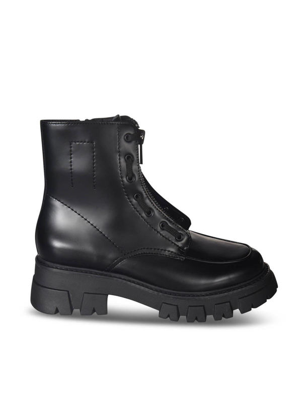 Ash Lynch 02 Combat Boots In Black Leather