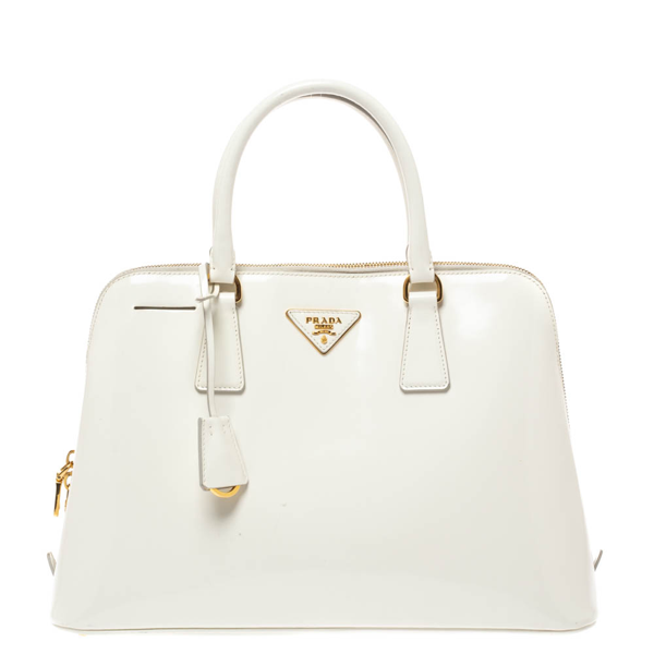 Prada White Patent Leather Large Promenade Satchel