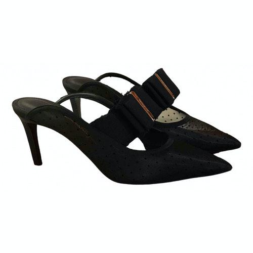 Salvatore Ferragamo Black Leather Sandals