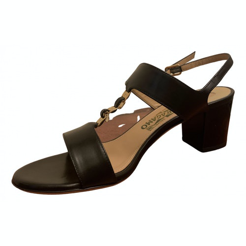 Salvatore Ferragamo Black Leather Sandals