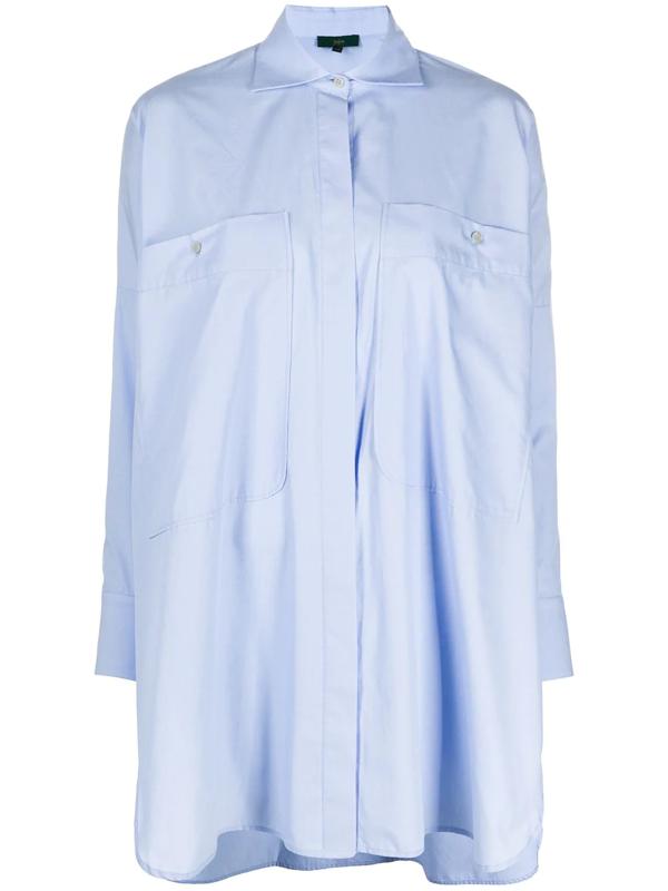 Jejia Oversized-pocket Longline Shirt In Blue