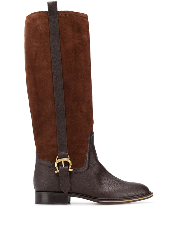 Pollini Panelled Knee Boots In Brown