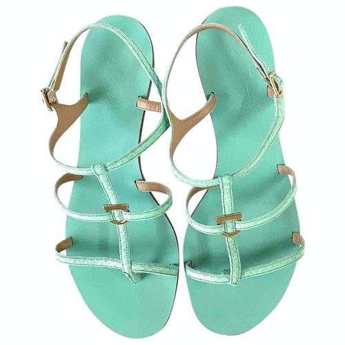 Salvatore Ferragamo Turquoise Leather Sandals