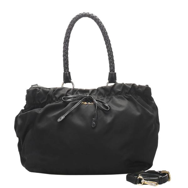 Prada Black Canvas Tessuto Satchel Bag