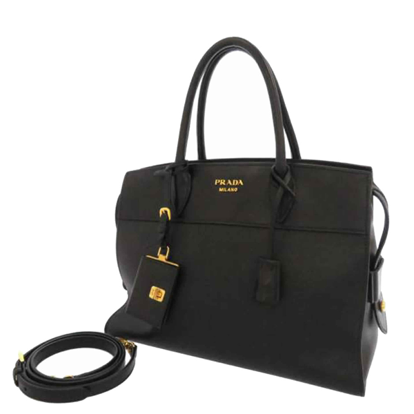 Prada Black Saffiano Leather Esplanade Satchel Bag