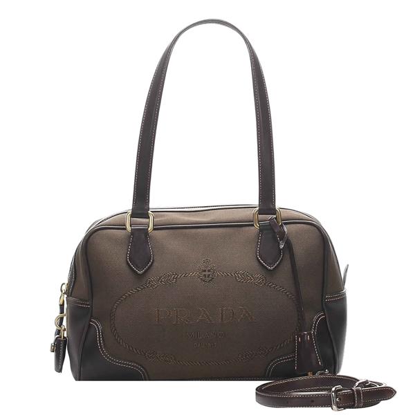Prada Brown Canvas Canapa Logo Satchel Bag