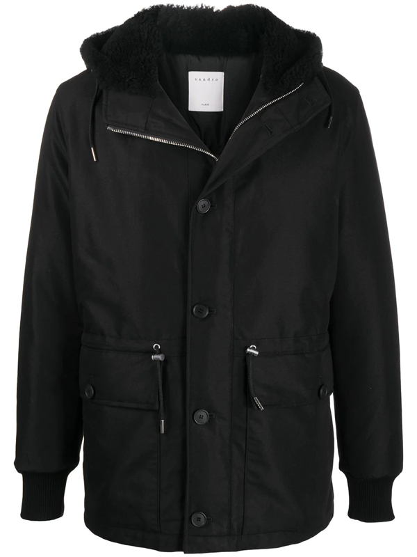 Sandro Hooded Down Jacket In Black