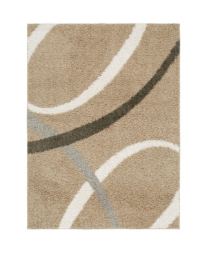 "Nicole Miller Synergy Quill Shag Beige 7'9"" X 10'2"" Area Rug"