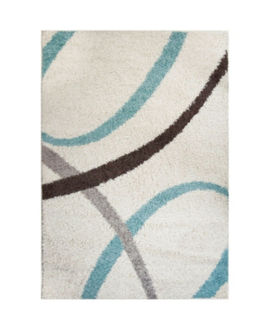 """Nicole Miller Synergy Quill Shag White 5'2"""" X 7'2"""" Area Rug"""