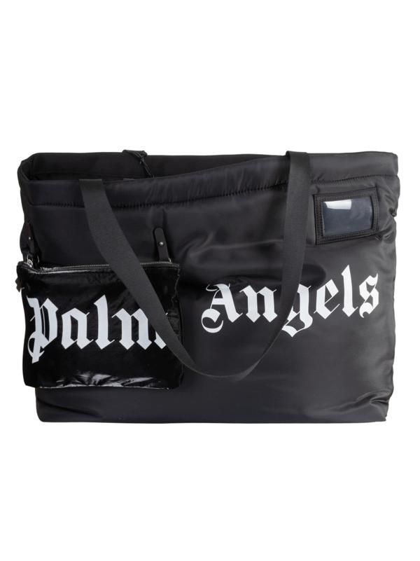 Palm Angels Horizontal Logo Shopper Bag In Black/white