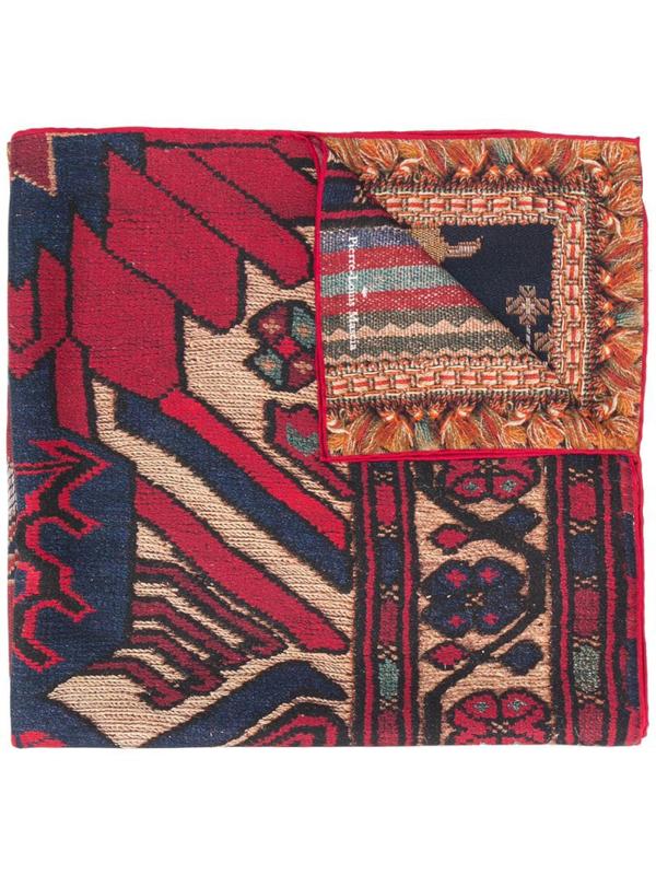 Pierre-louis Mascia Woven Pattern Scarf In Red