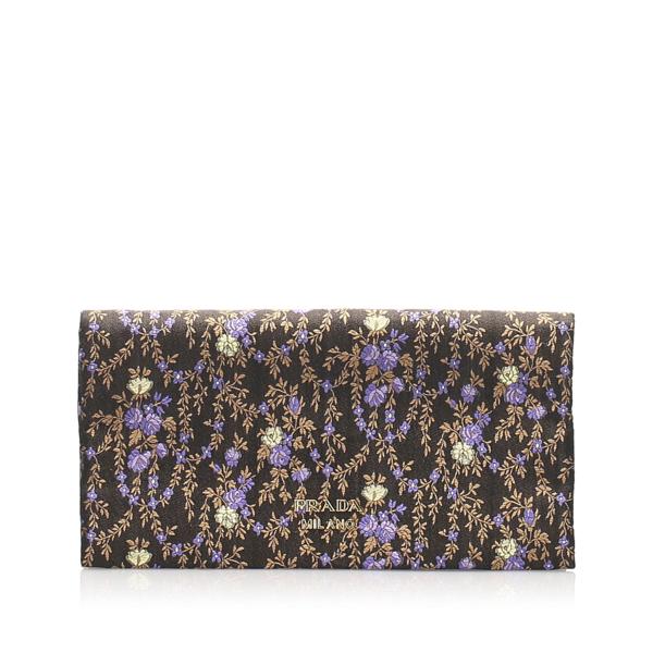 Prada Floral Silk Clutch Bag In Multi